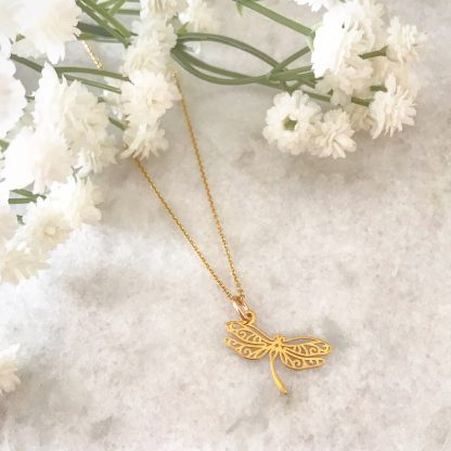 Filigree Dragonfly Necklace Gold Plated