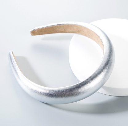 Portia Metallic Silver Padded Headband