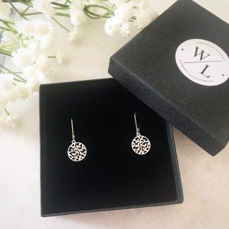Round Leaf Sterling Silver Earrings