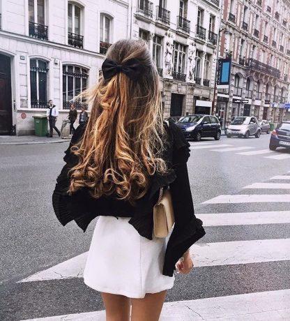Stella Black Satin Hair Bow