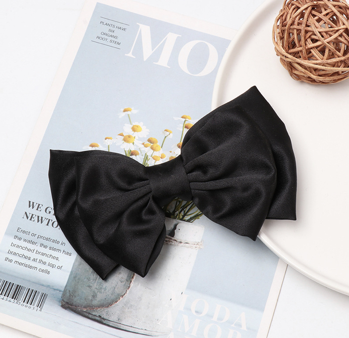 10 Hair Clips To Style Up Your Strands - Stella Black Satin Hair Bow