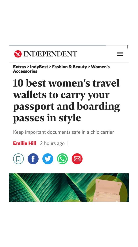 The Independent - December Online Article - 10 Best Womens Travel Wallets to Carry your Passport and Boarding Passes in Style