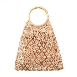 Aruba Beige Woven Bamboo Bag