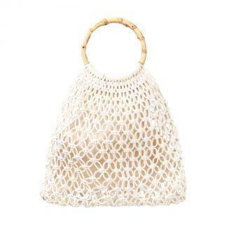 Aruba White Woven Bamboo Bag