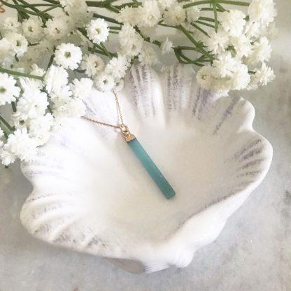 Azure Gemstone Bar Necklace