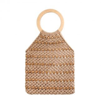 Kiko Beige Woven Beaded Bag