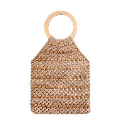 Kiko Beige Woven Beaded Bag