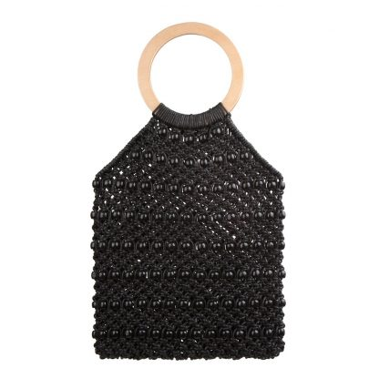 Kiko Black Woven Beaded Bag