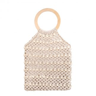 Kiko Off-White Woven Beaded Bag