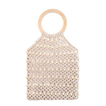 Kiko Off-White Woven Beaded Bag