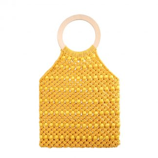 Kiko Yellow Woven Beaded Bag
