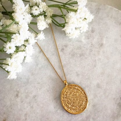 Cassia Large Gold Coin Necklace