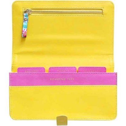 Sky + Miller Yellow Pineapple Travel Wallet Opened