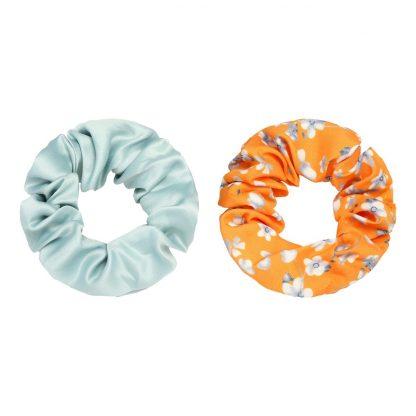 Rosa Set of 2 Floral Hair Scrunchies Orange
