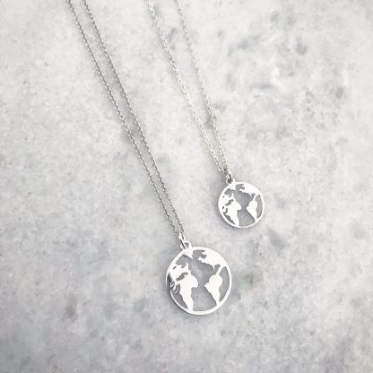 Sterling Silver World Map Necklace