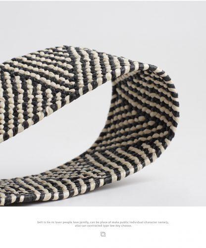 Black and White Raffia Belt