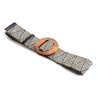 Black and White Raffia Belt