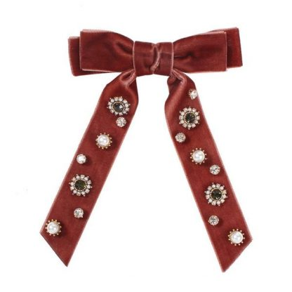 Antoinette Brown Embellished Bow Hair Clip