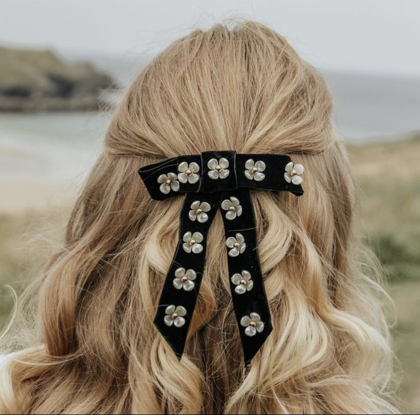Camille Embellished Flower Bow Hair Clip