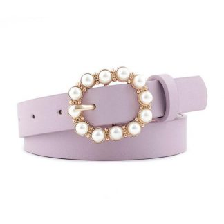 Purple Pearl Buckle Belt