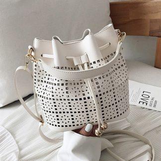 Josephine White Bucket Bag