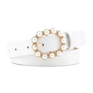 White Pearl Buckle Belt