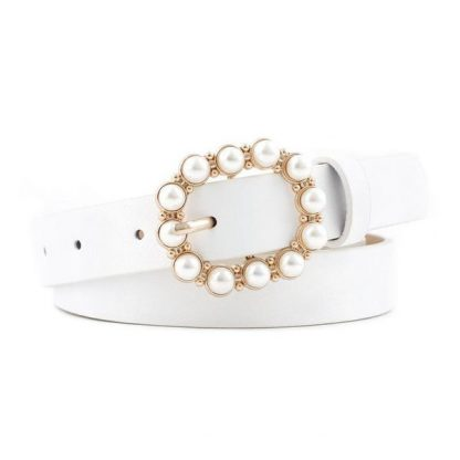 White Pearl Buckle Belt