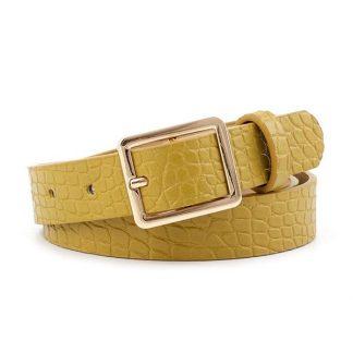 Croc Textured Mustard Belt
