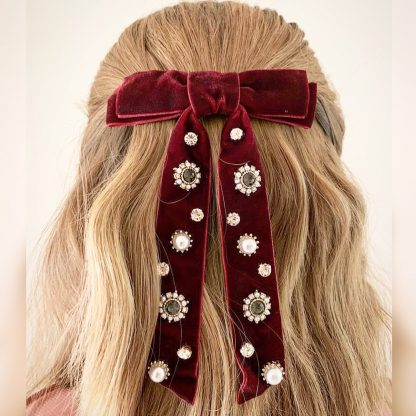 Antoinette Wine Embellished Bow Hair Clip