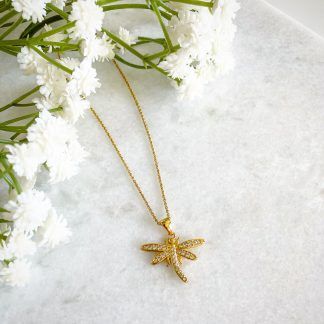 God Dragonfly CZ Necklace