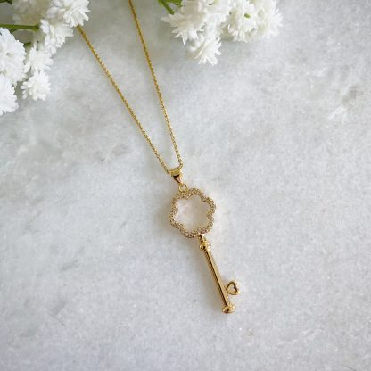 Gold Key CZ Necklace
