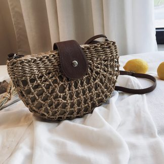 Kira Khaki Half Moon Raffia Cross Body