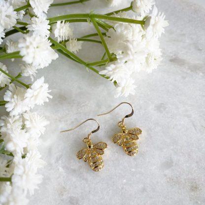 Queen Bee CZ Earrings Gold