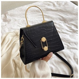 Eliza Black Structured Top Handle Bag
