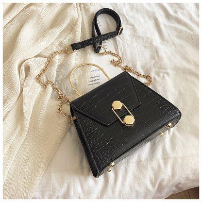Eliza Black Structured Top Handle Bag