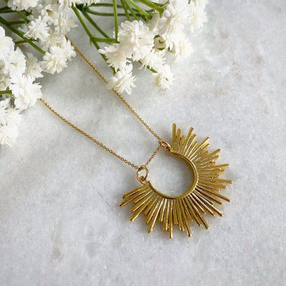 Oriana Gold Half Sun Necklace