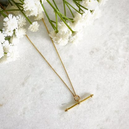 Etta Gold T-Bar Necklace