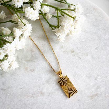 Ida Gold Rectangle Necklace