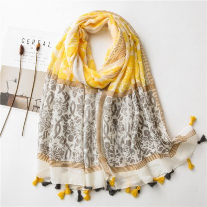 Almira Floral Scarf Grey/Yellow