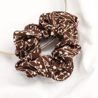 Bramble Brown Floral Scrunchie