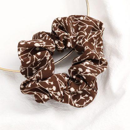 Bramble Brown Floral Scrunchie