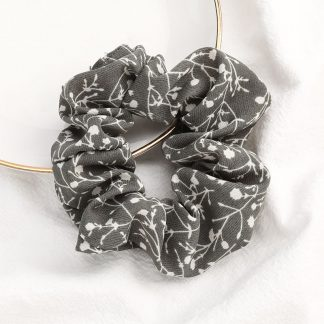 Bramble Grey Floral Scrunchies