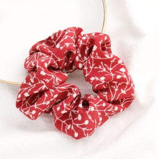 Bramble Red Floral Scrunchie