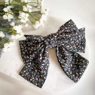 Fifi Black Floral Hair Bow