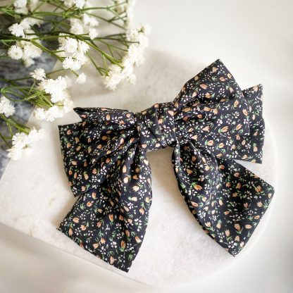 Fifi Black Floral Hair Bow