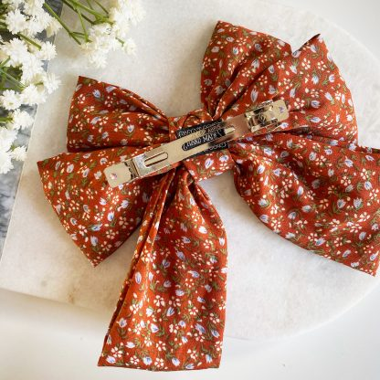 Fifi Orange Floral Hair Bow
