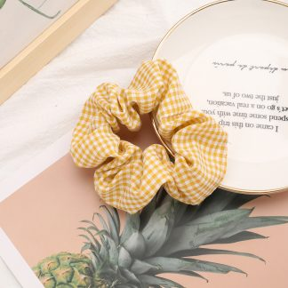 Leona Yellow Gingham Scrunchie