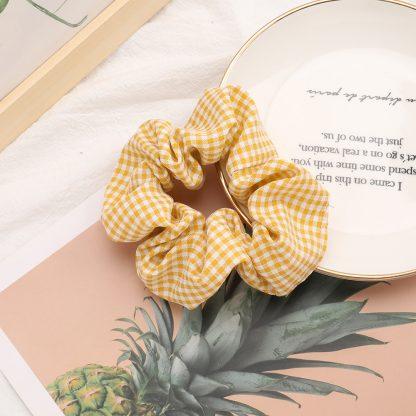 Leona Yellow Gingham Scrunchie