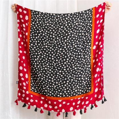 Nia Spot Print Scarf Red/Black