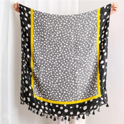 Nia Spot Print Scarf Black/Yellow